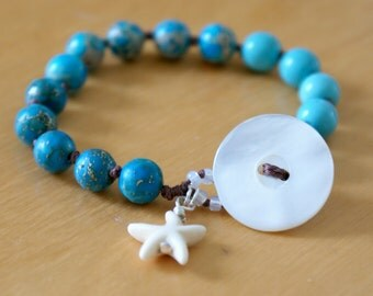 Turquoise Bohemian hand knotted wrap bracelet, trendy Beach jewelry, dangle, boho chic, surfer, sea,  starfish dangle, natural shell button