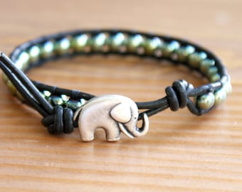 Hematite Bohemian beaded leather wrap bracelet, good luck elephant, hipster single wrap green, gemstone, Skinny, lucky charm, gift idea