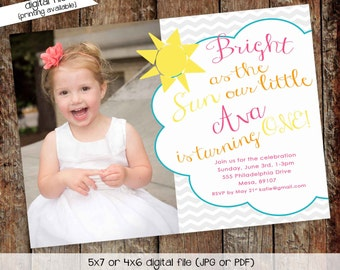 sunshine birthday invitation brighter than the sun you are my sunshine gender reveal baptism christening (item 248) shabby chic invitations