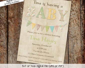 gender reveal invitation gender neutral baby sprinkle high tea shower bring a book library bunting banner (item 145) shabby chic invitation