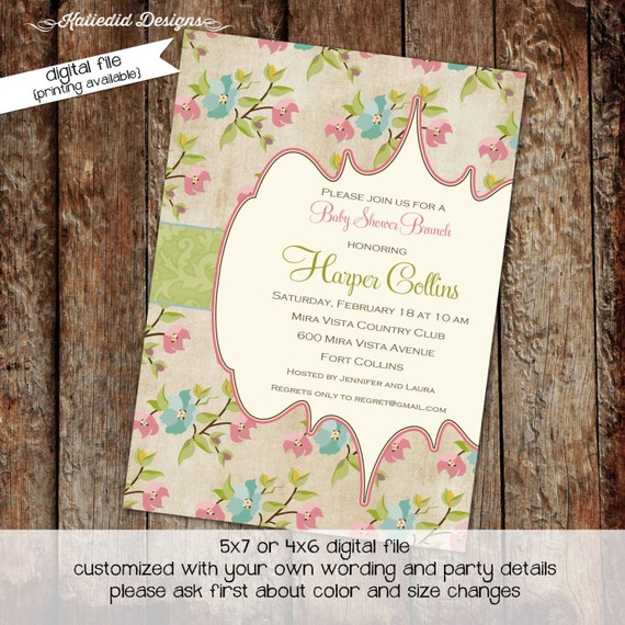 floral chic invite baby girl floral chic shower shabby chic it's a girl little girl birthday invitation diaper wipe 1340 Katiedid Designs