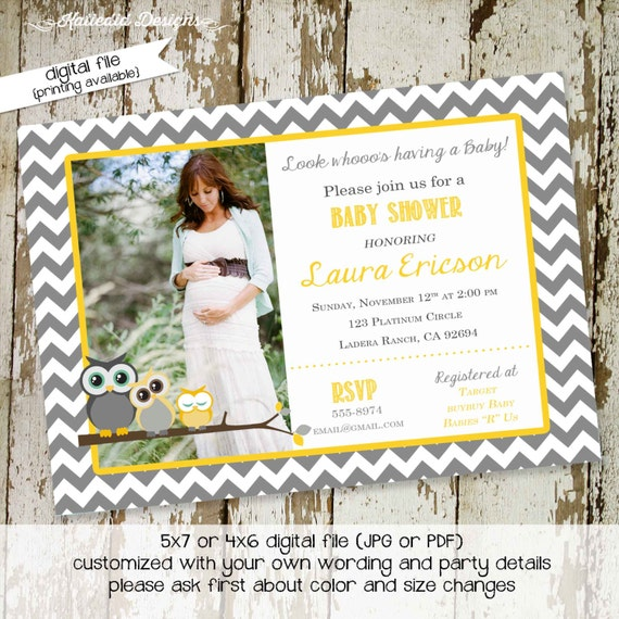 owl baby shower invitation owl first birthday birth announcement photo sip and see sprinkle ultrasound (item 1404) shabby chic invitations