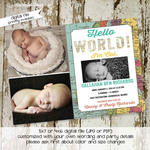 oh the places you will go birth announcement map travel invitation hello world around the world photo shabby chic (item 410) birthday bash