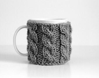 Gray Coffee Mug Cozy, Coffee Cup Cozies, Knit Cup Cozy, Knit Cup Warmer, Knit Coffee Cozy, Coffee Sleeve, Knit Mug Cozy, Stocking Stuffer