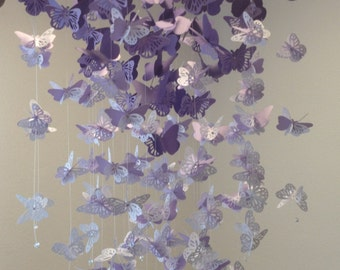 Monarch Butterfly Chandelier   Mobile, in purple and white mix, girl room mobile, 3D nursery mobile, baby girl mobile, baby mobile