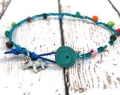 Boho Crochet Anklet Bright Beads on Teal Cord with Elephant Charm / Boho Summer Chic/ Ready to Ship