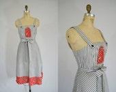 Vintage 1970s Dress / Sundress / Black, White, Red