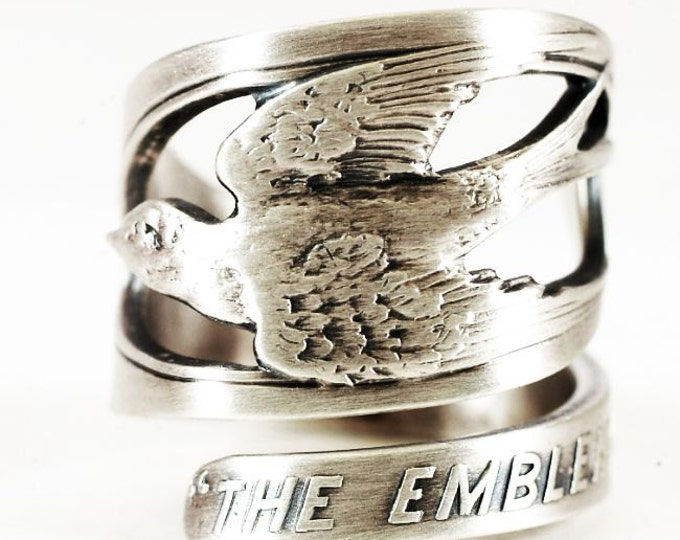 Bird Ring, Sterling Silver Spoon Ring, Adorable Happiness Swallow Bird, Handmade Gift for Her or Him, Peace Ring, Adjustable Ring Size, 6050