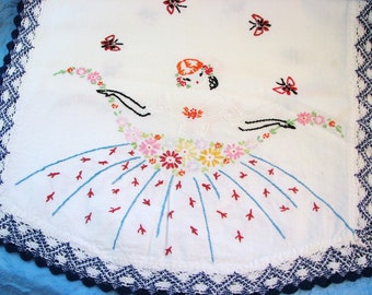 Vintage White Cotton Hand Embroidered Senorita Dresser Scarf / Table Runner ... TLC for Projects, Cutter