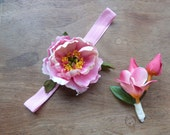 Pink peony Flower girl headband and ring bearer boutonniere set