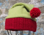 Up-cycled Cashmere Santa's Helper Elf Hat for Babies