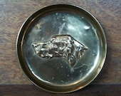 Vintage English Brass Small Dog Dish Gift Trinket Jewellery Jewelry circa 1960's / English Shop