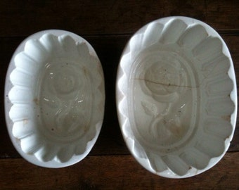 Vintage French Pudding Cake Jelly Moulds circa 1920-30's / English Shop