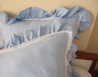 BLUE linen EURO SHAM pillows, ruffled pillow cover - 26 inch square - ruffled shabby chic decorative pillow with lace