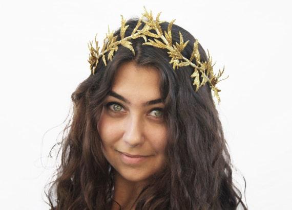 Gold Leaf Headband Gold Leaf Crown Dryad by BloomDesignStudio