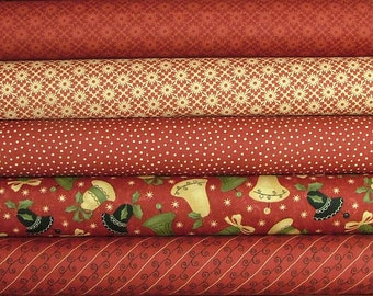 Fat Quarter Bundle of Merry Medley in Red by Sandy Gervais for Moda 4 LEFT