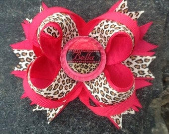 Pink Leopard Personalized Name Boutique Bottlecap Hairbow