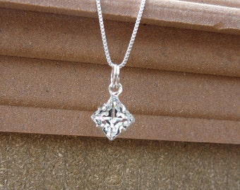 Dainty Clear Swarovski crystal pendant and Sterling silver chain - April birthstone necklace - Gift idea -Free shipping to Canada & USA