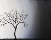 Tree Black  White Original PAINTING - First light - Skye Taylor