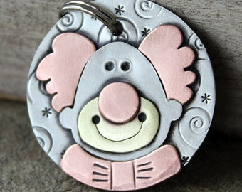 Dog ID Tag- Large pet name tag- Happy the Clown