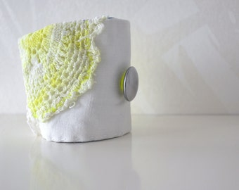 fresh white linen and neon yellow wrist cuff - hand dyed neon yellow doily - neon summer wrist cuff - gift for her - shabby style bracelet