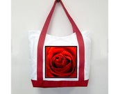 Christmas Red Handle Tote Bag, Christmas Rose, New Canvas Styling, Original Photography  By Loves Paris Studio, 5 Styles,  FREE SHIPPING USA