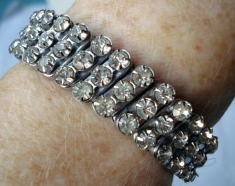 Vintage Bracelet Expanding Clear Rhinestone 40's 50's