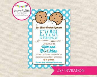 DIY, Cookie-Monster-Inspired Cookies and Milk INVITATION ONLY
