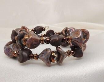 Earthtone Crystal Memory Wire Bracelet