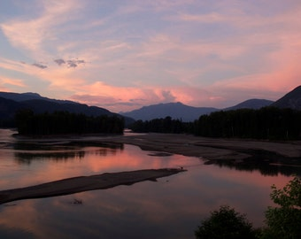 Sunset Photography, Fine Art Photo Print 11 x 14, Rivers, Mountain Landscapes