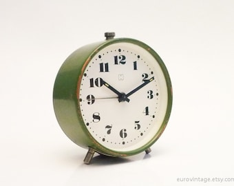 Vintage 70s Forest Green Alarm Clock Mechanical