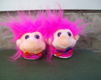 Vintage Troll Slippers, Pink Baby or Toddler Troll Shoes