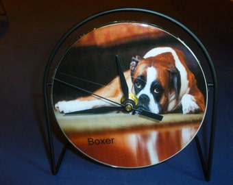 Boxer Recycled CD Clock Art