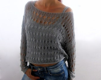 Cotton Summer   Sweater  in gray color, hand knitted, ecofriendly