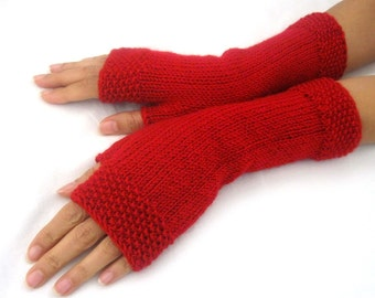 RED ...Fingerless Gloves, Wool Mittens, Women Arm Warmers, eco friendly
