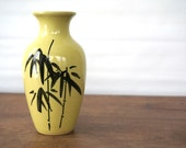 Vintage Oriental Vase, Yellow Black Bamboo, Minimalist, Haiku Stoneware 1970s