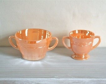 20% OFF Marked Price - Vintage Peach Lusterware Double Handled Bowls