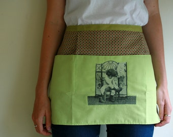Green cuteness kitchen half apron with decoupage detail, waitress style apron, vendor apron