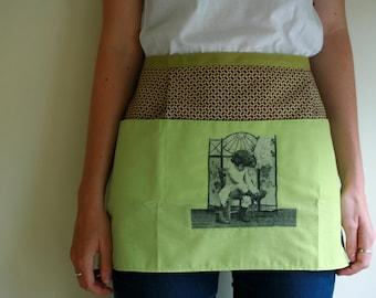 Green cuteness kitchen half apron with decoupage detail, waitress style apron, vendor apron