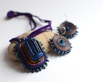 Textile necklace blue, fabric necklace beaded, fiber pendant blue, necklace purple, fabric pendant beaded, gift for woman - Textile jewelry
