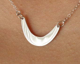 Crescent Festoon Necklace in Sterling Silver, unique necklace, gift idea, everyday, simple