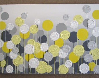 Yellow and Grey Flower Art, Textured Acrylic Painting on Canvas, Select your size, MADE TO ORDER