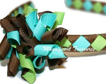 Brown, Turquoise, and Apple Green Woven Headband with Removable Korker Hair Clip