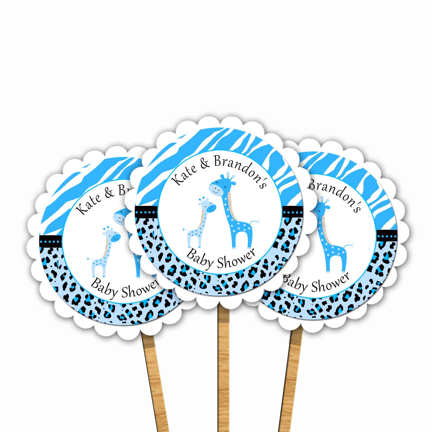 Blue Giraffe Scalloped Baby Shower Cupcake Toppers Leopard