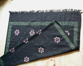 Hand woven wool shawl, vintage high quality Himalayan woolen, hand spun, black with flowers and geometric design