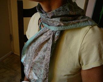 Liberty print silk scarflette, neutrals ecru, powder blue, stone green intricated floral designs, syamarts upcycled silk sari, perfect gift.