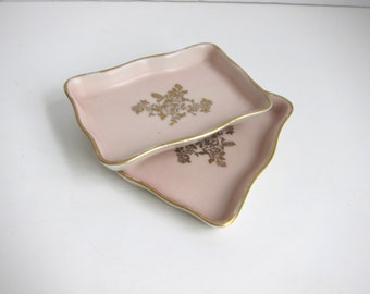 Pair of Pink and Gold Pin Dishes
