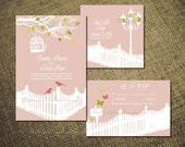 PRINTABLE RUSTIC ROMANCE Save The Date Design Diy Wedding Invitation Suite Program Pdf Engagement Party Love Bird Template Digital Country