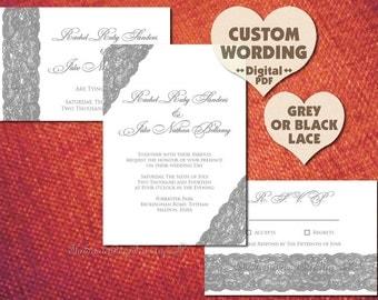 DIY PRINTABLE Gray LACE Grey Invitation Set Black Suite Custom Design Wedding Anniversary Engagement Party Bridal Shower Template Vintage