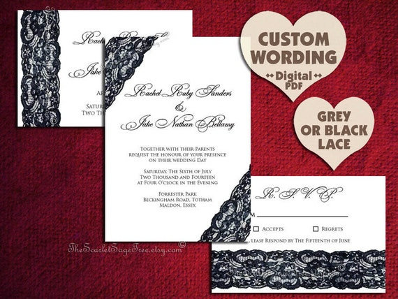 Lace Wedding Invitation Suite Black White Gray DIY PRINTABLE Template Pdf Rustic Online Budget Cheap Invite Set Party Country Save The Date